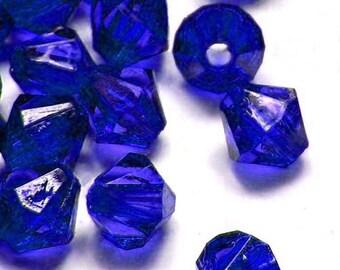 "10mm (13/32"") Royal Blue Bicone Acrylic / Plastic Beads (45 pcs).  2.05mm hole.  051809"