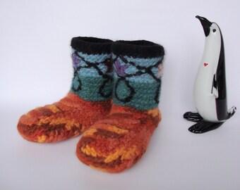 Crochet Booties, Women's Booties, Orange Booties, Non Skid Socks, Woolen Socks, Felted Wool, Gift for Her, Men's 6-6.5, Women's 7.5-8