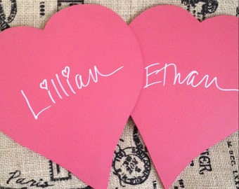 Red Chalkboard Hearts Photo Accessory Engagement Photo Props set of 2  (Item Number BL57)