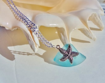 Silver Starfish on Aqua Blue Sea Glass Necklace - Beach Candies Collection