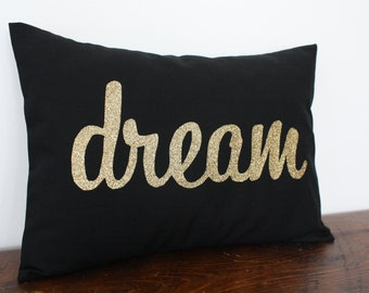 Gold Glitter Dream Pillow - Valentine Pillow- Valentine Decoration - Home and Living / Decor and Housewares - by Honey Pie Design