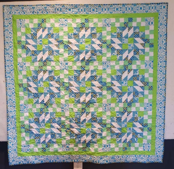 Blue and green scrappy quilt boy bed quilt
