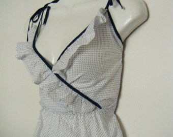 sweet 1970s  polka dots SUNDRESS with shoulder ties and ruffles, size s