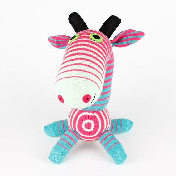 Christmas New year Gift Handmade Pink Striped Sock Giraffe Stuffed Animal Doll Baby Toys