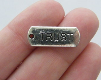 10 Trust charms antique silver tone M50