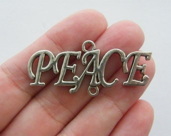 2 Peace connector charms antique silver tone CT107