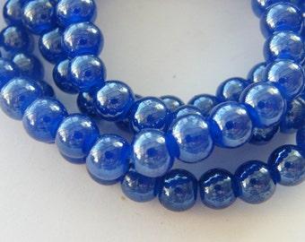 115 Blue glass beads 8mm B170