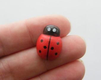 BULK 100 Large wooden ladybugs 19 x 13mm