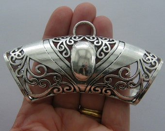1 Scarf bail antique silver tone