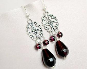 Garnet earrings , sterling chandelier earrings, handmade luxe earrings, burgundy earrings