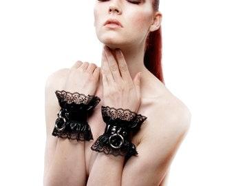 RHEA BDSM Leather Bracelets Satin Lace Lolita Black Feith & Slave Cuffs - Bondage Ddlg wrist Cuffs - Kitten Pet Play Dominant Discreet Cuffs