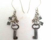 Crystal And Antique Key Sterling Hook Dangle Earrings