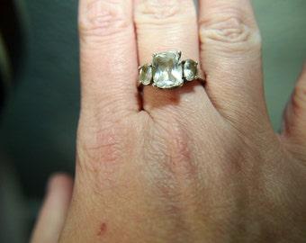 Rhinestone Paste Ring - Sterling Silver - Vintage