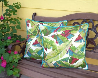 Captivating Palm Leaf Pillow Cover 18x18 Beverly Hill Decor, Tropical Outdoor Cushion  In Banana Leaf Fabric