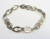 Vintage Medieval Celtic open link bracelet in sterling silver - 7 inches