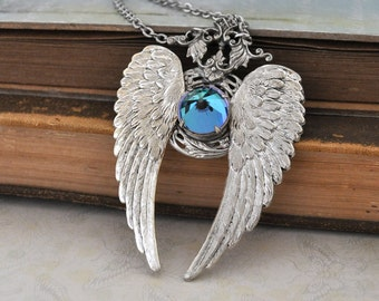 large Victorian style necklace antiqued silver - EDEN - large winged pendant with vintage glass cab