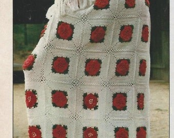 Crochet Pattern - 1970s  flowered Afghan to Crochet PDF DOWNLOAD