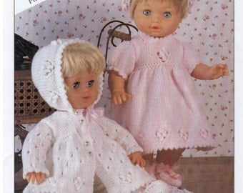 Knitting Pattern - Doll Prem Baby Knitting Pattern - Matinee Jacket, Bonnet, Dress, Bootees 12 to 22 in height