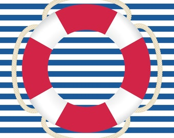 Blue Stripe with Ring Buoy Nautical Nursery- Printable Poster
