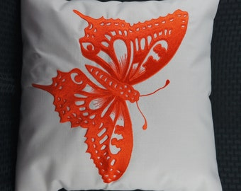 """Butterfly Pillow Cover, Embroidery, Spring Pillow, Summer Pillow, Decorative Pillow, Accent Pillow, 18""""x18"""", Natural, Orange, Ready to ship"""