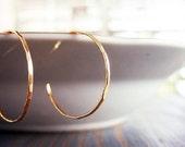 Delicate Organic Thin 14K Gold Filled Gipsy Earrings. Handmade Hammered Earrings. Thin Dangle Earrings.