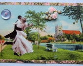 Isn't it Romatic...Fred and Ginger-Valentine-Marry Me-Get Me to the Church on Time-DWTS - OOAK Postcard Mixed Media Collage, Beaus & Buttons