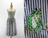 Vintage Dress - SMILING FROGS - nos Serbin Label - nwot