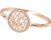14kt or Sterling 3 Letter ScriptMonogram Bangle Bracelet Personalized Gift