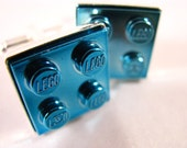 2x2 Blue Chrome Brick Cufflinks