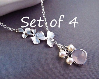 Set of 4 Bridesmaids Necklace, You Choose Color, Silver Orchid Flowers with Pearls and Jewel, Bridesmaid Necklace Pearl, Bridal Party