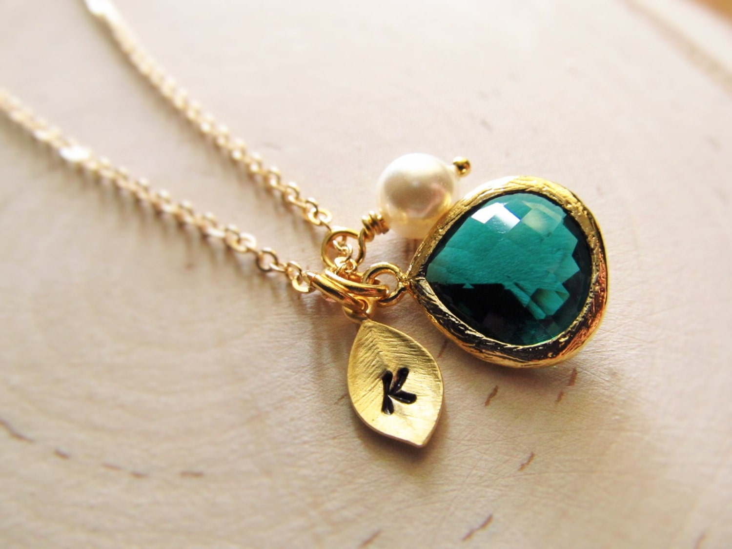 may birthstone necklace emerald necklace gold initial. Black Bedroom Furniture Sets. Home Design Ideas