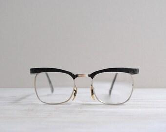 SALE Vintage Eyeglasses 1960s Black Metal Rim