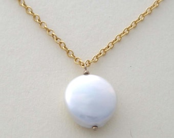 White pearl necklace coin pearl necklace single freshwater pearl necklace pearl gold necklace solitaire coin pearl necklace June birthstone