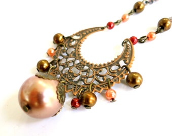 Antique Brass  with Pearls Copper Vintage Style Necklace