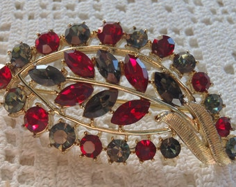Vintage Brooch Coro Red and Blue Rhinestones