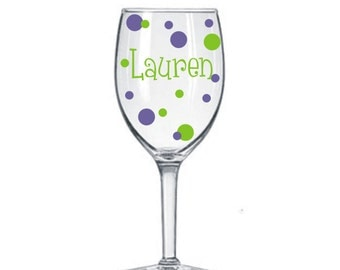 10 Name Decals for DIY Wine Glass kit * Great for Weddings Parties GNO * Vinyl Lettering Names and Polka Dots * DIY Project * Save Money *