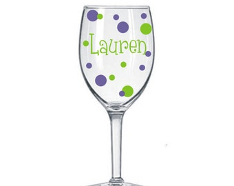 1 Name Decal for DIY Wine Glass kit * Great for Weddings Parties GNO * Vinyl Lettering Names and Polka Dots * DIY Project * Save Money *