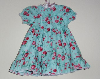 Baby Girl Floral Peasant Dress, SALE, Size 9-12 month, Aqua and Pink Rose Dress, Baby Girl Ruffled Peasant Dress by Hopscotch Avenue