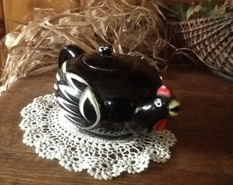 Rooster Chicken Tea Pot Antique Redware Pottery 1940's Country Kitchen Home Decor