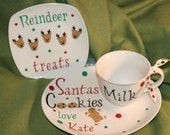 Personalized Cookies for Santa plate, reindeer plate and milk mug 3 piece set