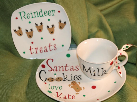 Personalized Cookies For Santa Plate Reindeer Plate And Milk