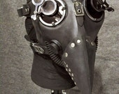 Plague Doctor Gas Mask w Jewelers Lenses, Antiqued Silver Hardware - MS058AN