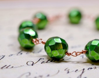 Metallic Apple Green and Copper Bracelet, Rustic Beaded Wire Wrap Bracelet