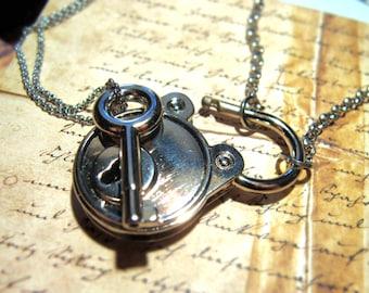 Couples Lock Necklace set love lock working padlock necklace set for 2 Prison necklace