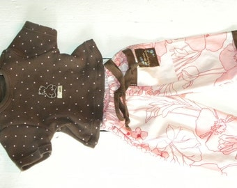 Cotton Flowered Pants and Brown Polka Dot Tshirt - 16 - 18 inch doll clothes