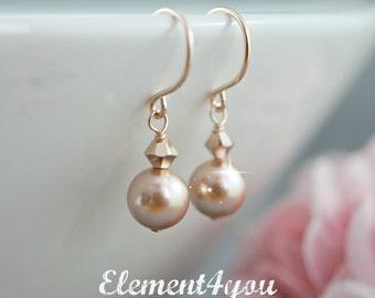 Bridal earrings Rose gold pearls Wedding jewelry Pearl earrings Crystal earrings Swarovski rose gold pearls Dangle earrings Bridesmaid gift