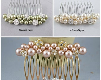 Wedding hair comb Pearl fascinator Ivory hair pin White headpiece Bridal accessories Beaded pearl comb Silver Rhinestone ball cluster