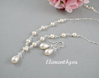 Bridal necklace earrings set, Sterling silver jewelry, Swarovski cream ivory white pearls crystals, Wedding jewelry, Delicate simple jewelry