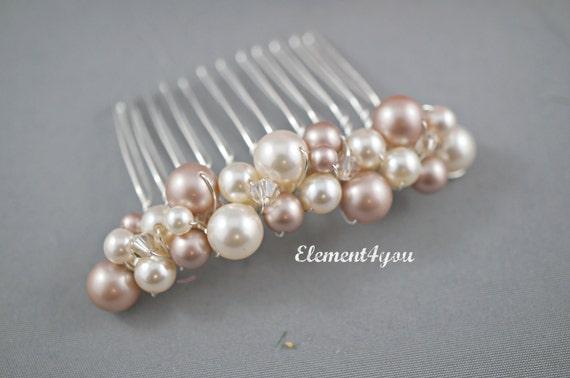 Wedding comb, bridal headpiece, bridal hair comb, pearls hair comb, crystal comb, hair accessories, bridesmaid hair comb, pearl comb