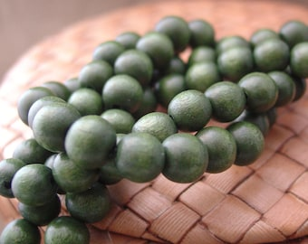 15 in strand 8 mm Round Wood Beads, Forest Green